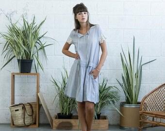 Final Summer Sale Drop waist midi dress with lace detail ,Light grey linen summer dress