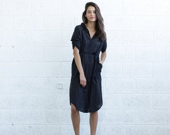 Final Summer Sale SALE 30% OFF! Embroidered Button down dress, Black.