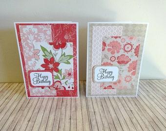 Birthday Cards, Birthday Card Set, Handmade Birthday Cards, Greeting Cards, Blank Cards, Set of 2 Birthday Cards, Happy Birthday Cards