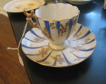 Japan cobalt gilt stripe vintage demitasse cup saucer with gilt flowers