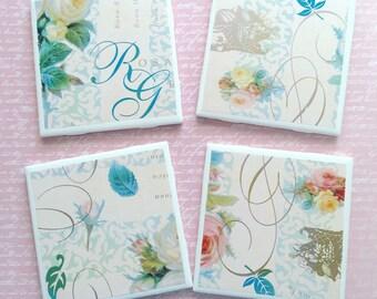 Shabby Chic Ceramic Coasters, Handmade Vintage Coasters, Roses Coasters, Ceramic Coasters, Set of 4 Coasters