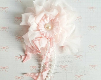 Handmade Fabric Flower  Pink Brooch, Breast Cancer Awareness Brooch, Blush Pink Brooch, Shabby Chic Brooch, Handmade Flowers