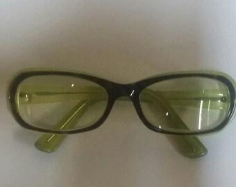 Vintage Vanni Iridescent Green Funky Eyeglasses Glasses Authentic FUN Italian