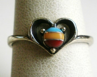 Sterling Silver Zuni Heart Ring-Size 6 7/8