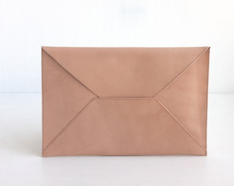 Leather Envelope Clutch Document Holder. Nude Leather Clutch. Envelope Clutch. Document Organizer. Document Holder. Men Clutch. Men Work Bag