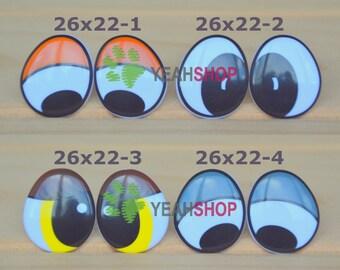 26mmx22mm Plastic Comic Eyes / Safety Eyes / Printed Eyes - 4 Styles