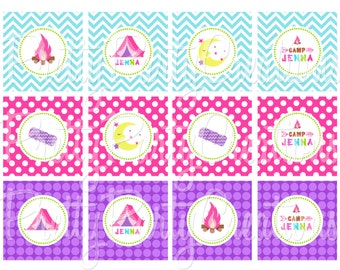 CHEVRON CAMPING cupcake toppers- YOU Print