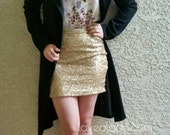 True Gold Mini Sequin Skirt - Runs Small Stretchy, beautiful, fun mini skirt (Small, Medium, Large, XLarge) runs small