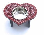 Heart-Shaped Diner, cat or dog bowl, medium heart dog feeder, elevated single bowl, valentine heart bowl