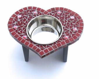 Heart-Shaped Dog Feeder, Cat or Dog Bowl, Medium Dog Feeder, Elevated Single Bowl Food Station, Valentine Heart Bowl, Raised Mosaic Bowl