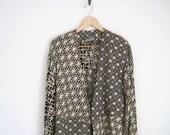 80s Jacket Outerwear | Black & White Jacket with One Button | Indian Textile Jacket | Geometric Pattern Jacket | Classic V Neck Robe Kimono
