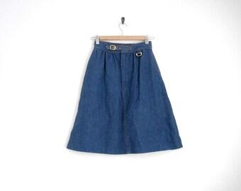 1970s Denim Skirt. High Waist Denim Skirt with Gold Buckle. Midi Flare Skirt. True Blue Denim. Pleated Denim Skirt.