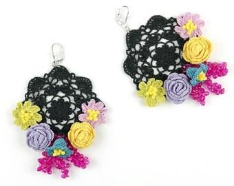 RESERVED Earrings-Crochet Earrings, Crystals Crochet Beaded Floral Rose Statement Dangle Earrings, Bohemian Jewelry, Black Earrings,