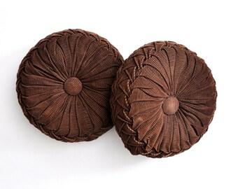 Pair of Vintage Dark Brown Corduroy Smocked Pillows