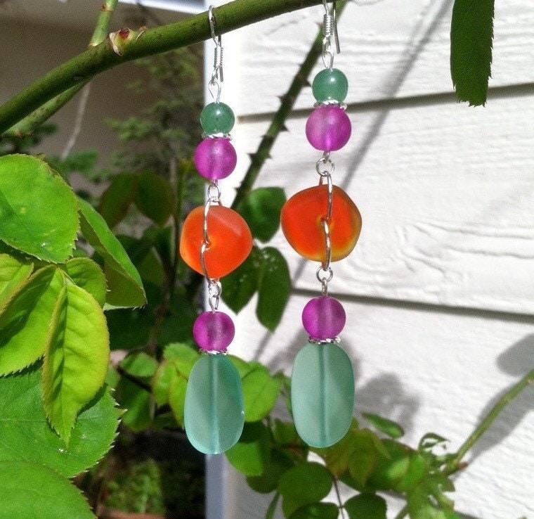 Mint Hot Purple and Orange Sea Glass Earrings