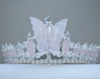 Rose Quartz Butterfly Tiara, Birthday Tiara, Princess Tiara