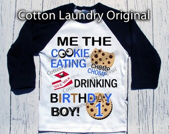 Cookie Monster birthday shirt Cookie Monster themed birthday shirt baseball raglan style Me the cookie eating milk drinking birthday boy