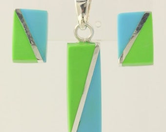 Earrings & Pendant Set - Sterling Silver Simulated Gaspetite Turquoise Resin 925 q60