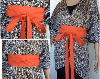 Organic Cotton Wrap Belt in Tangerine Orange