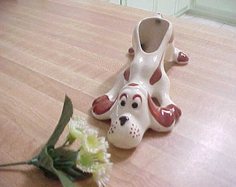 Vintage Ceramic Hound Dog Planter, 1950s Made in Japan Mid Century Home Decor, Cartoon Style Pottery Dog Figurine, Cute Business Card Holder