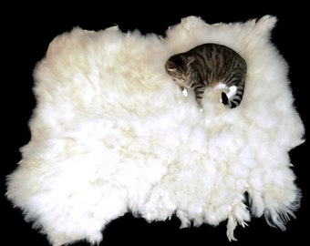 Cat Bed - Cruelty Free Humane Felted Wool Fleece Rug - Navajo Churro White - Supporting Small US Farms - Not a SheepSkin - This is Better