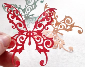 Set of Paper Butterflies, Trio,  Red Paper Butterflies,  Nursery Decoration, Butterfly Decoration, Butterflies
