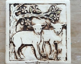 Lambs and cherry tree handmade porcelain tile