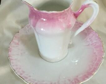 Vintage Pitcher  Saucer Pink & White Porcelain
