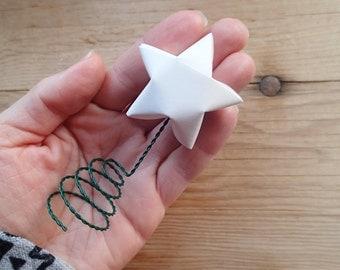 Tree Topper, White Origami Star, Christmas Tree.