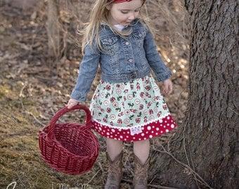Aqua Little Red Riding Hood  skirt   (18 mos.,  2T, 3T, 4T, 5, 6, 7, 8, 10)