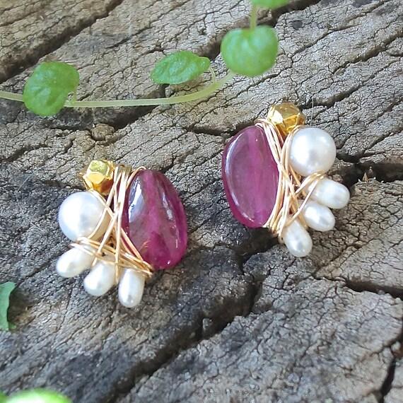Small ruby stud earrings - wire wrapped studs earrings - 14k gold filled