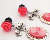 2g 6mm Pink Cameo Steel Dangle Plugs pink roses pretty316L