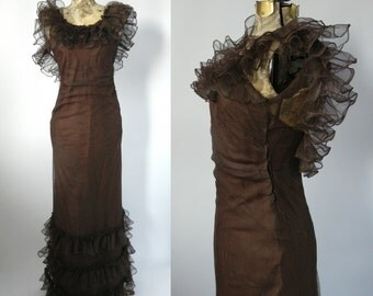 1930 Dress, Vintage Dress, 30s Gown, Brown 30s Gown, Vintage Ruffled Gown, Vintage 1930 Dress, 1930 Brown Gown, Art Deco Dress, 1930 Gown