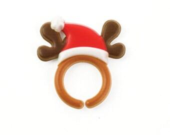 Reindeer Antler Cupcake Topper Rings, 12 Cupcake Toppers, Christmas, Cupcake Decoration, Baking Supplies, Holiday