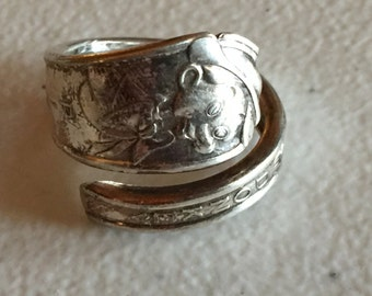 Pinocchio Silverware Spoon Ring Handmade Vintage Silverplate 756