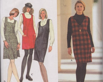Women's Misses' 90's Sewing Pattern Simplicity 9757 Jumper with Neckline Variations Sizes XS-M Bust 30.5-38""