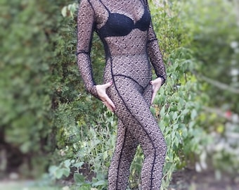 Black spider web sheer fishnet mesh see through bodysuit unitard catsuit long sleeves high neck sexy witch steampunk burlesque goth vampire