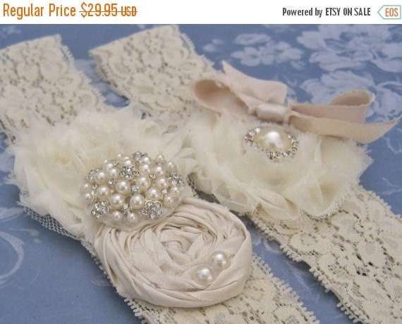 FALL SALE Vintage Bridal Garter Wedding Garter Set Toss Garter included  Ivory with Rhinestones and Pearls  Custom Wedding colors