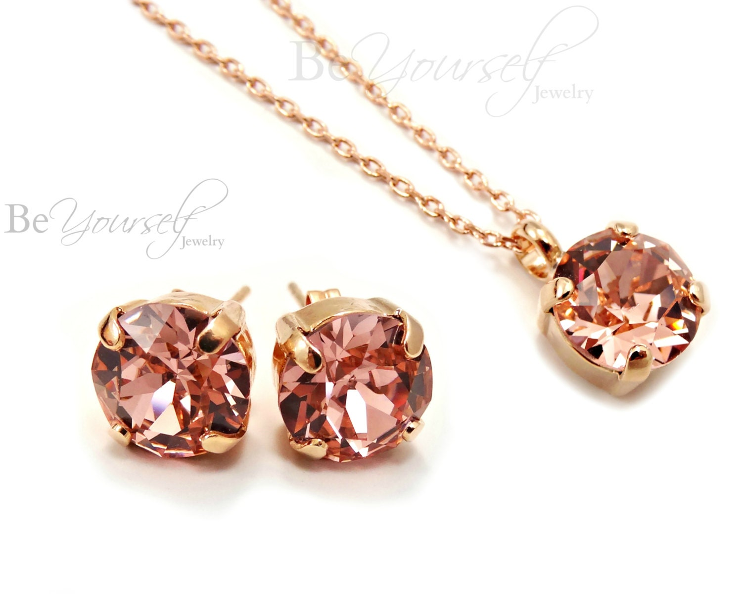Blush Bridal Studs Rose Gold Bride Earrings Pastel Pink Wedding Necklace Swarovski Crystal Vintage Rose Solitaire Jewelry Bridesmaid Gift