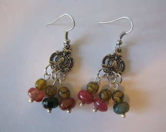 Snakeskin agate bead earrings/gemstone earrings/dangle earrings/silver plated earrings
