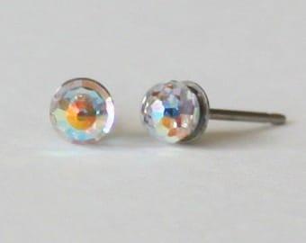 Titanium Earrings, tiny 4mm Clear Swarovski crystal ball studs, Hypoallergenic Titanium studs, sensitive ears