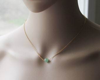 8mm Natural Green Aventurine necklace, Floating green stone necklace, Gemstone necklace, Green bead necklace, 14K Rose Gold necklace