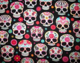 Skulls Sugar Flowers Black Cotton Fabric Fat Quarter or Custom Listing