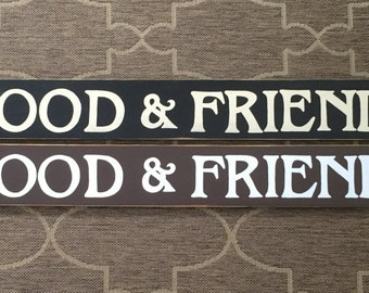 "Food & Friends PB 55"" Knockoff Primitive Farmhouse Decor Rustic Wall Decor Sign Plaque Wooden Hand Painted You Pick Color"