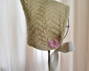 18mons-3T Cream Pixie Toddler Baby Hat Upcycled Felted Wool Ballerina flannel lined READY TO GO