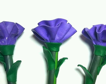 New Cute Handmade Polymer Clay Writing Pen purple carnation flower