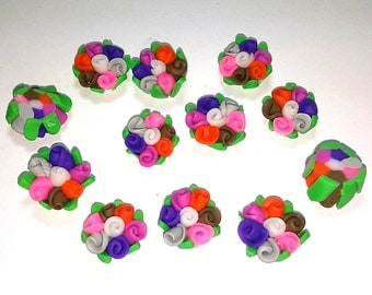 10 Fimo Polymer Clay pink purple Flower Fimo Beads Bouquet  17mm