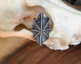 Silver Spiderweb Ring