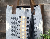 North by Northwest Small Tote Bag // Rustic Tribal Pendleton Wool Grey Leather with Tassel // Rosebud Originals