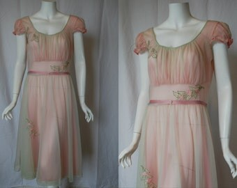 1950s Luxite Pink Green Nightgown, 38, Large, Xlarge